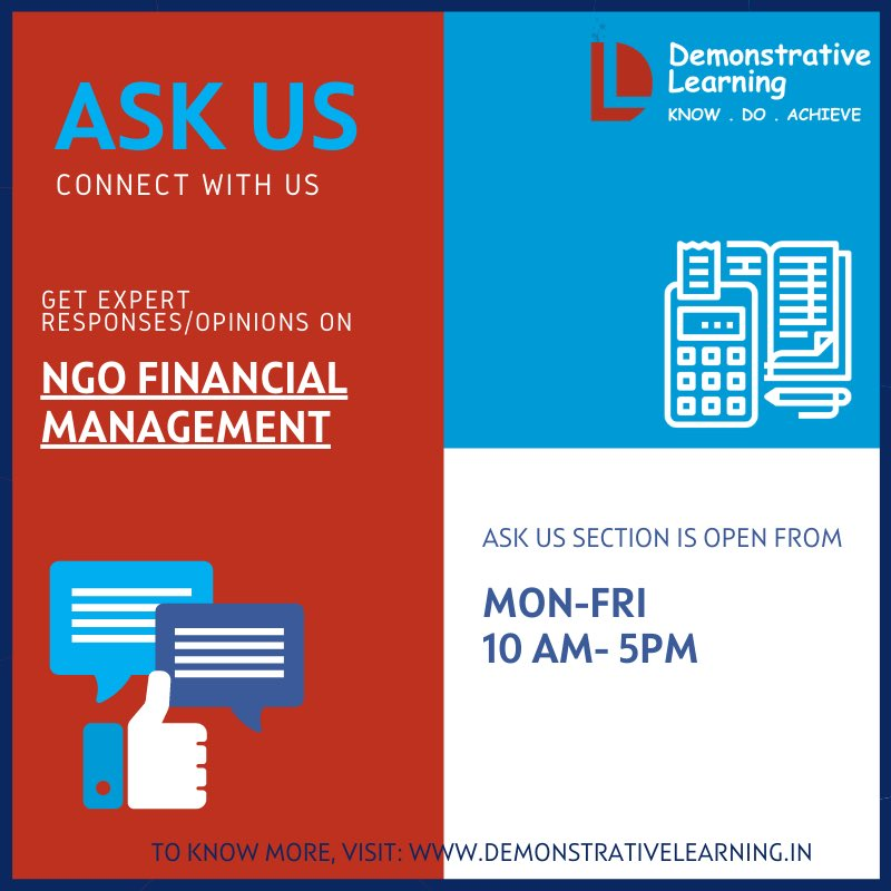 ASK US is a Q&A based interactive module which provides expert opinions/responses drawn from the combined experience of the founding team on various topics. Visit:   #Law  #Administration #RuralDevelopment #FinancialManagement #NGO #SocialMedia #Education