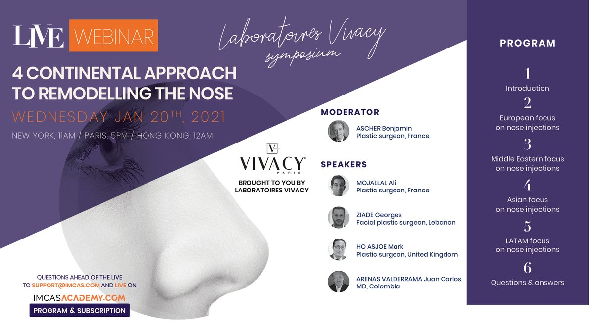 - NEXT LIVE WEBINAR - January 20, 2021 at 5PM (Paris time) by @Lab_Vivacy   Be sure to join us on IMCAS Academy for the sponsored webinar on 4 continental approaches to remodelling the nose with injectables. Register & watch for free here 👉 https://t.co/wNiBjaiQwV https://t.co/LhaorSbsFn