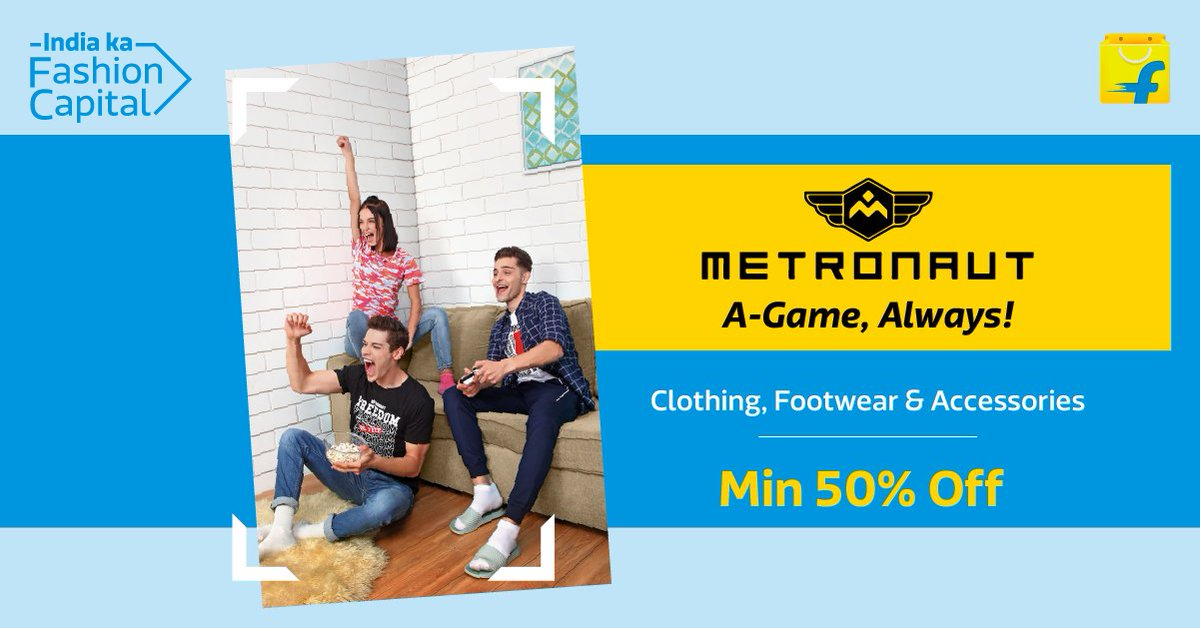 Bring your A-game on with Metronaut! Get min 50% off on clothing, footwear, and accessories from Metronaut on Flipkart Fashion, India Ka Fashion Capital.