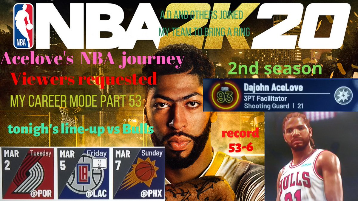 https://t.co/f74o0BO341  NBA2k20 Mycareer mode; part 53, 2nd season. Viewers requested. 3 games tonight s we're back as the saga for the championship continues as we the Bulls face off against Portland Trailblazers then L.A. Clippers then finish the night off vs The Phoenix Suns. https://t.co/XBOMo3P1K3