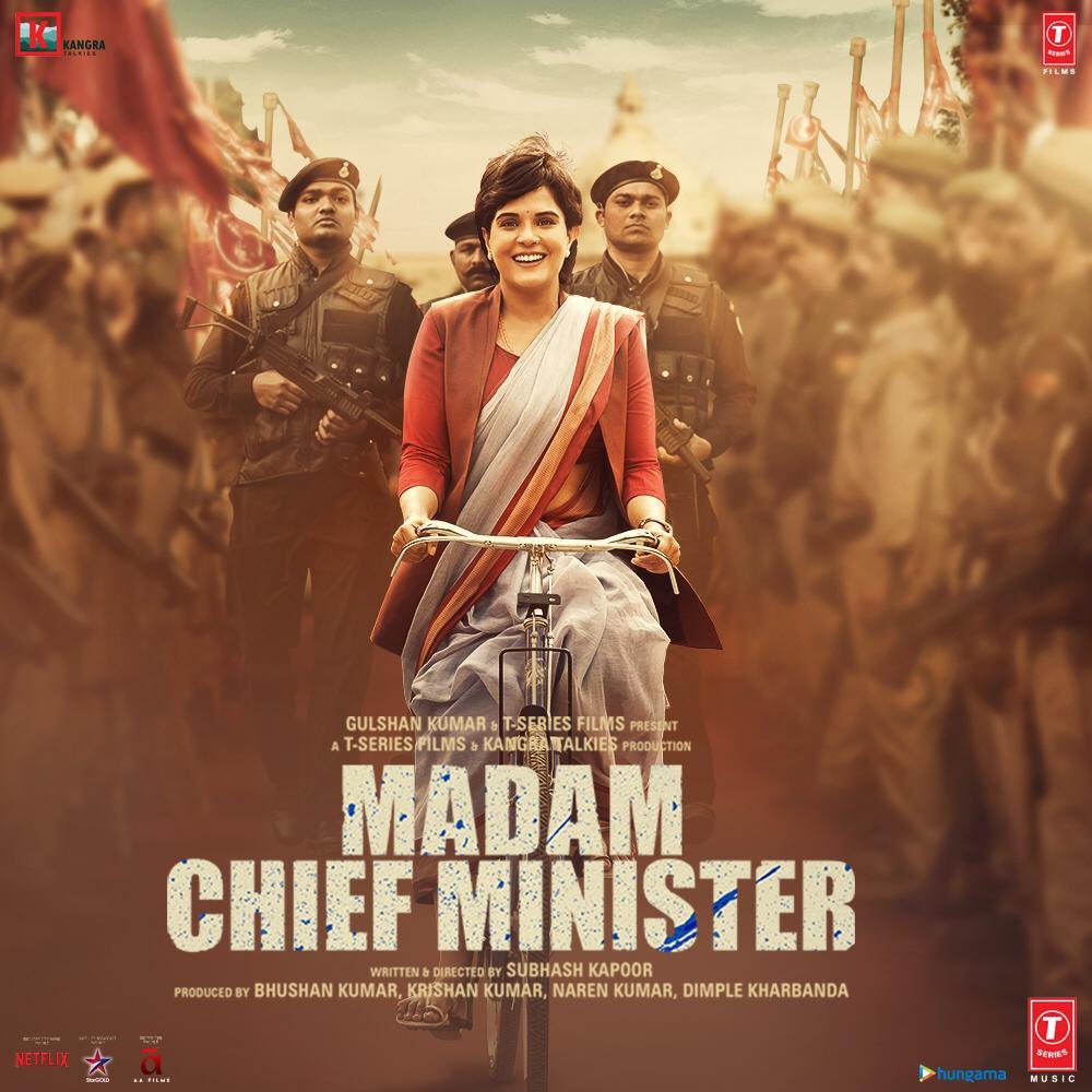 New poster of #MadamChiefMinister!  Stars @RichaChadha, @saurabhshukla_s, #ManavKaul, @Akshay0beroi and #ShubhrajyotiBarat.  Director: @subkapoor Producers: #BhushanKumar-#KrishanKumar's @TSeries and @jollynarenkumar-@dkh9's @KangraTalkies  22 Jan 2021 release.