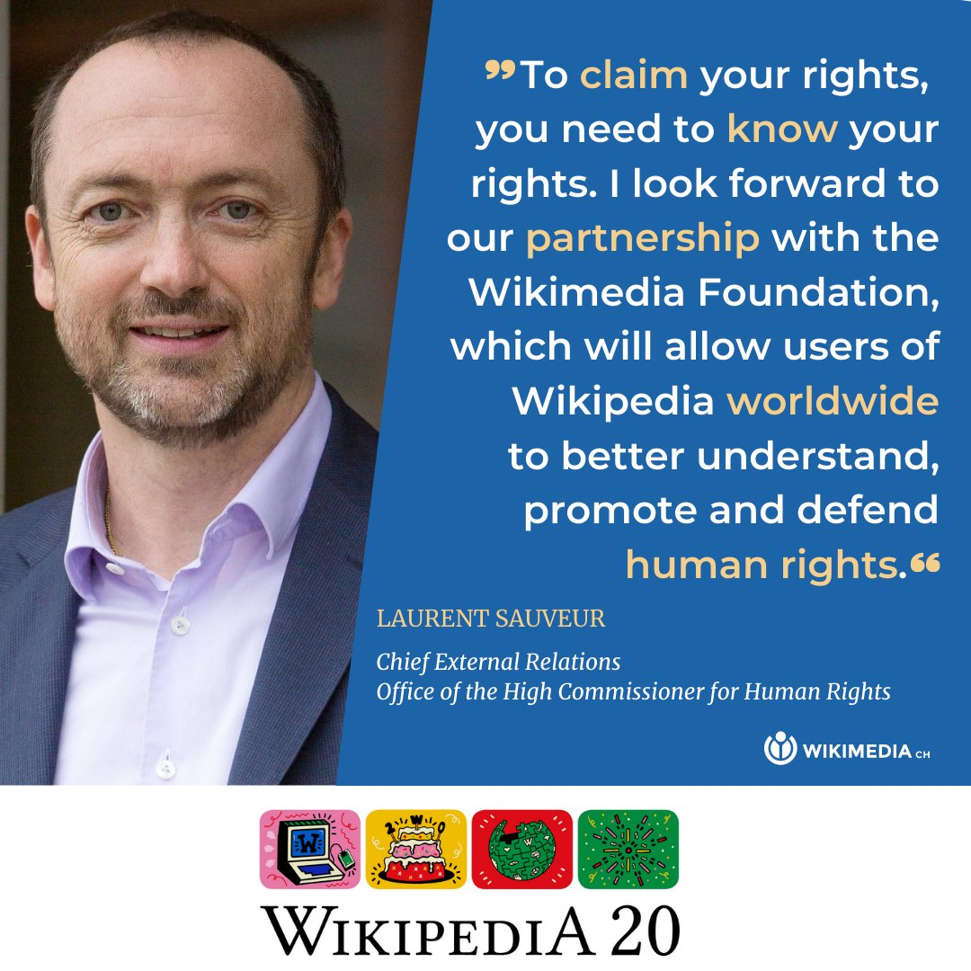 To celebrate @Wikipedia's 20th anniversary, @UNHumanRights and @Wikimedia will organize activities, throughout 2021, allowing volunteers to create content about human rights. Learn more:    #StandUp4HumanRights #wikimedia20 #wikimediach