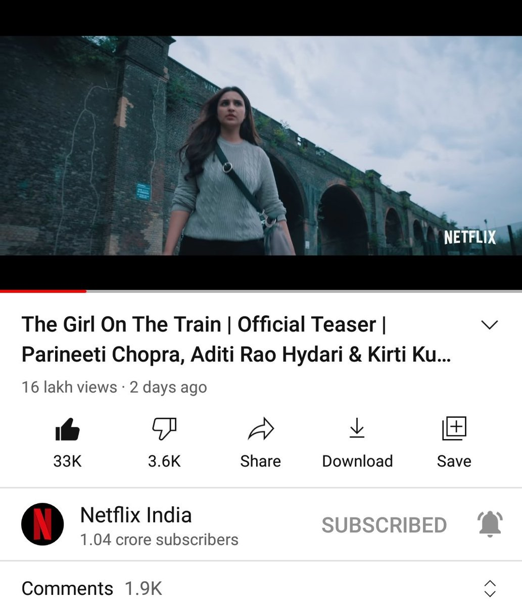 #TheGirlOnTheTrain Official Teaser Reached 1.6M+ Views & 33K+ Likes/1.9K+ Comments On @YouTube [With In 2 Days].  Link :   #ParineetiChopra | #TeamParineetiTN | #TGOTT | @ParineetiChopra