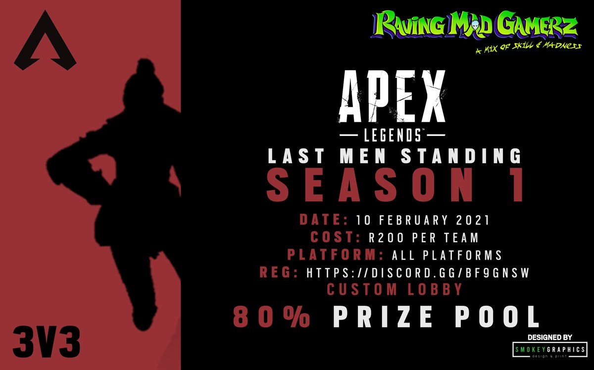 Introducing our Apex Legends League for 2021 in custom lobbies  Join up using our discord:   How to register:   Games on wed, starting 17th Feb  Designed by @SmokeyGraphics   #beravingmadaboutgaming #lastmenstanding @ApexLegendsZA