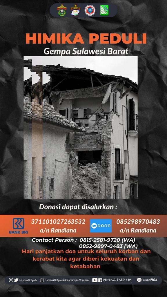 [HIMIKA PEDULI GEMPA SULAWESI BARAT]  Gempa yang terjadi sekitar 5,9 Magnitudo dan disusul dengan kekuatan 6,2 Magnitudo berdampak besar. Maka kami membuka donasi untuk menyalurkan bantuan kepada saudara kita disana.  #Gempa #Donasi #Majene #SULBAR #SULSEL #HIMIKAPEDULI