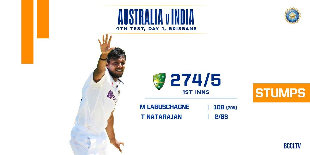 That will be Stumps on Day 1 of the 4th Test.  Australia 274/5   Scorecard -  #AUSvIND