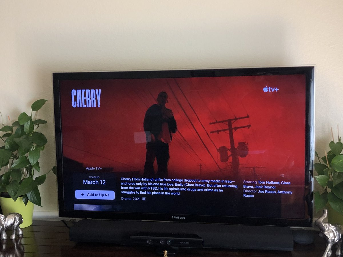 Ya'll Cherry came on my Apple Tv I'M CRYING 😭 I legit can't wait to watch it!! @TomHolland1996 @HarryHolland99 #Cherry #CherryMovie #Cherrytrailer #TomHolland #HarryHolland #CiaraBravo #russobrothers #AppleTV #AppleTVPlus