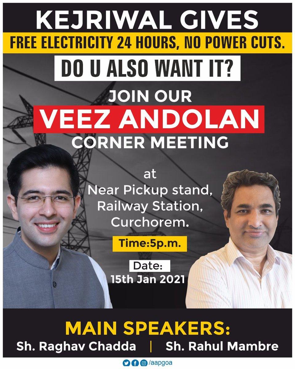 #VeezAndolan starts again.  @raghav_chadha will address a #VeezAndolan meeting today at Curchorem(5 p.m.) with AAP Goa Convenor @RahulMhambre