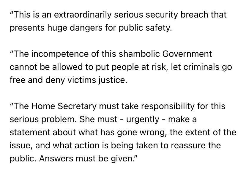 My statement in response to today's report in @thetimes that 150,000 arrest records have been deleted by the Home Office. This is an extraordinarily serious security breach and the public deserves immediate answers: