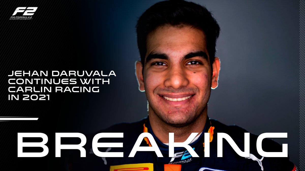 BREAKING: @DaruvalaJehan sticks with @CarlinRacing! 🇮🇳🤝🇬🇧  The Indian driver and the British team continue their race-winning partnership for 2021!  #F2 #RoadToF1
