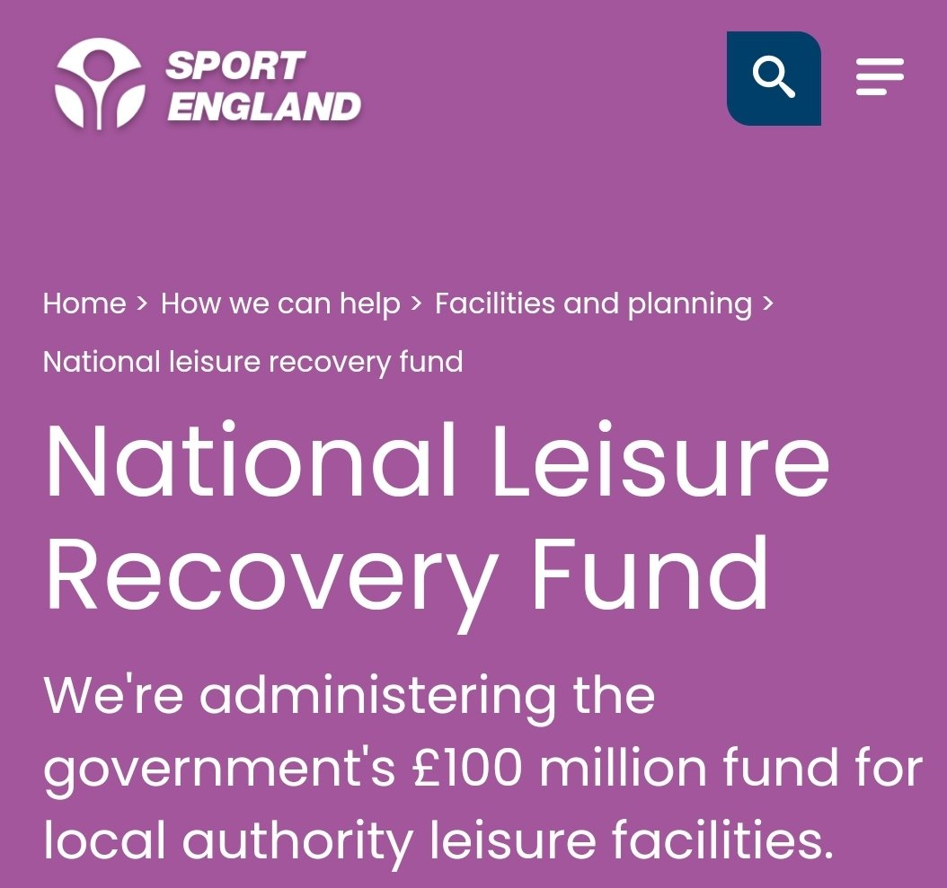 Applications for the £100 million National Leisure Recovery Fund close today.  Local authority leisure facility providers, please check eligibility and get your application in.