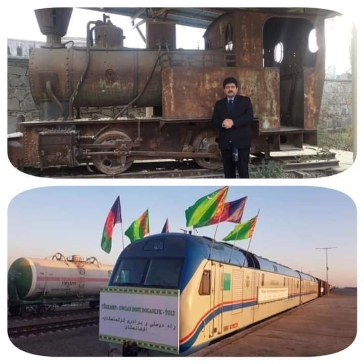 """""""One day, Pakistani journalist @HamidMirPAK  jokingly wrote on his Twitter account with a picture he took next to an old train at the Kabul Museum:  (Who said there are no trains in Afghanistan? There is a train engine in the Kabul Museum.) https://t.co/s7GE0sWtyg"""