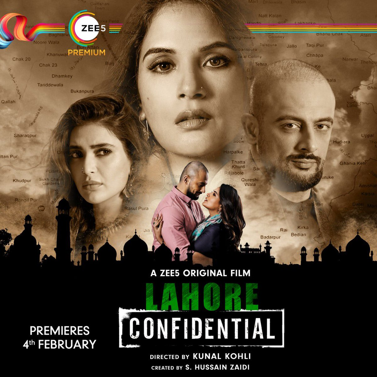 Divided by borders, united by love. Divided by tactics, united by poetry. Watch #LahoreConfidential to see which side wins. Premiering February 4th on @ZEE5Premium. #WhateverItTakes  @JarPictures @ajaygrai @kunalkohli @RichaChadha @arunodaysingh7 @KARISHMAK_TANNA @deepaksimhal