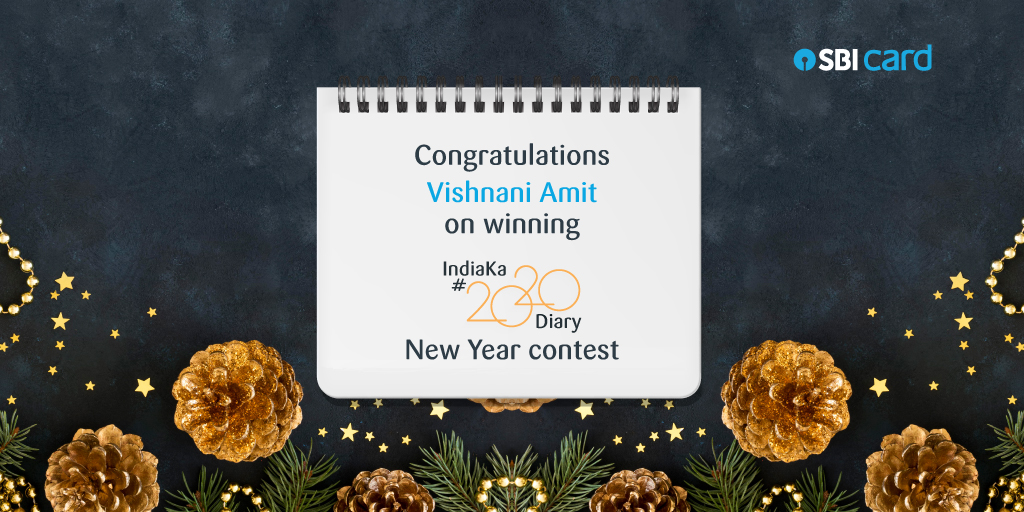 Here's to Vishnani Amit (@.Vishnani_Amit) for their great entry to win the SBI Credit Card #IndiaKa2020Diary Contest! We will DM you your ₹3,000 Amazon voucher. Thank you all for your positive entries. The compilation will be out soon! #SBICreditCard #ContestAlert #AmazonVoucher