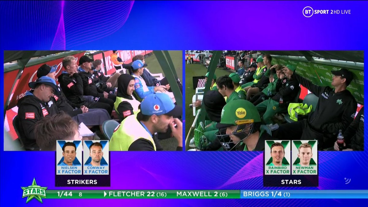BIG BASH LEAGUE Melbourne Stars vs Adelaide Strikers  X FACTOR SUBSTITUTES  MELBOURNE STARS Sam Rainbird Ed Newman  ADELAIDE STRIKERS Harry Nielsen Harry Conway  Image Credits: BT Sport https://t.co/a3kkPg1ZVF