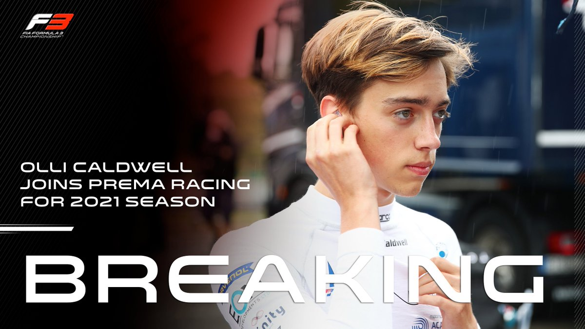 BREAKING: Olli Caldwell joins @PREMA_Team 🙌  The British racer joins Dennis Hauger and Arthur Leclerc to complete the Italian outfit's line-up ✨  #F3 #RoadToF1