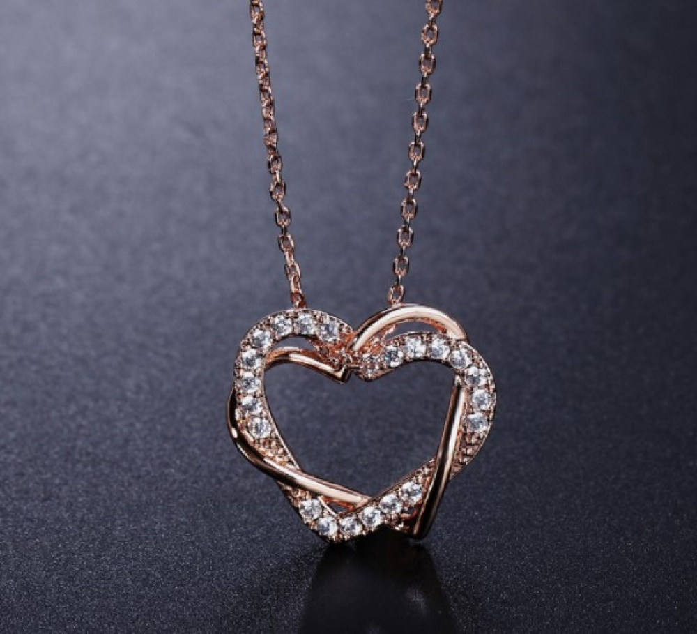 #food #tflers Romantic Heart to Heart Crystal Necklace