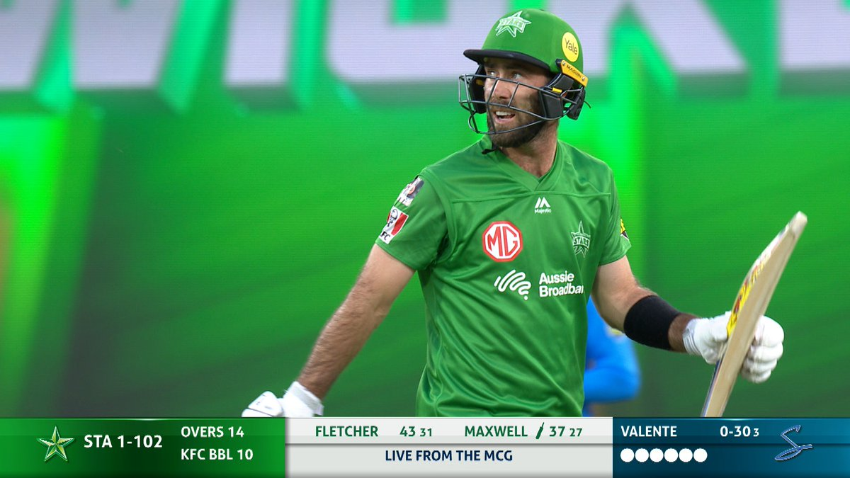 WICKET! Maxwell falls just as the Stars begin to get a move on.  📺 Watch #BBL10 on Fox Cricket or Kayo: https://t.co/M1aCP8Fflk 📝 Live Blog: https://t.co/MImwyYx2w1 📱 Match Centre: https://t.co/OFoYsunZI6 https://t.co/7gD8OQXGWP