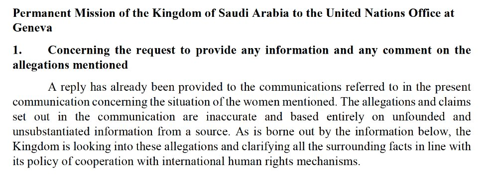 Now Public: 🇸🇦 #SaudiArabia's response to a letter on the sad death of #HRD Abdullah Hamid al-Hamid and concerns for imprisoned #WHRDs @LoujainHathloul, Mayaa al-Zahrani, Nouf Abdulaziz, Samar Badawi, Nassima al-Sadah and others.  Read here:👇