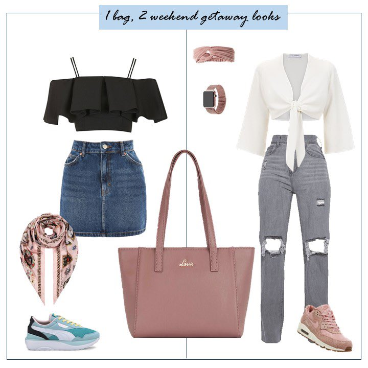 We've put together 2 looks for your weekend getaways that's equal parts on fun and fabulous.😎  Comment how you are vibing this weekend and which look would you don? 🌸 x Click this link to shop the steal deal on the featured handbag