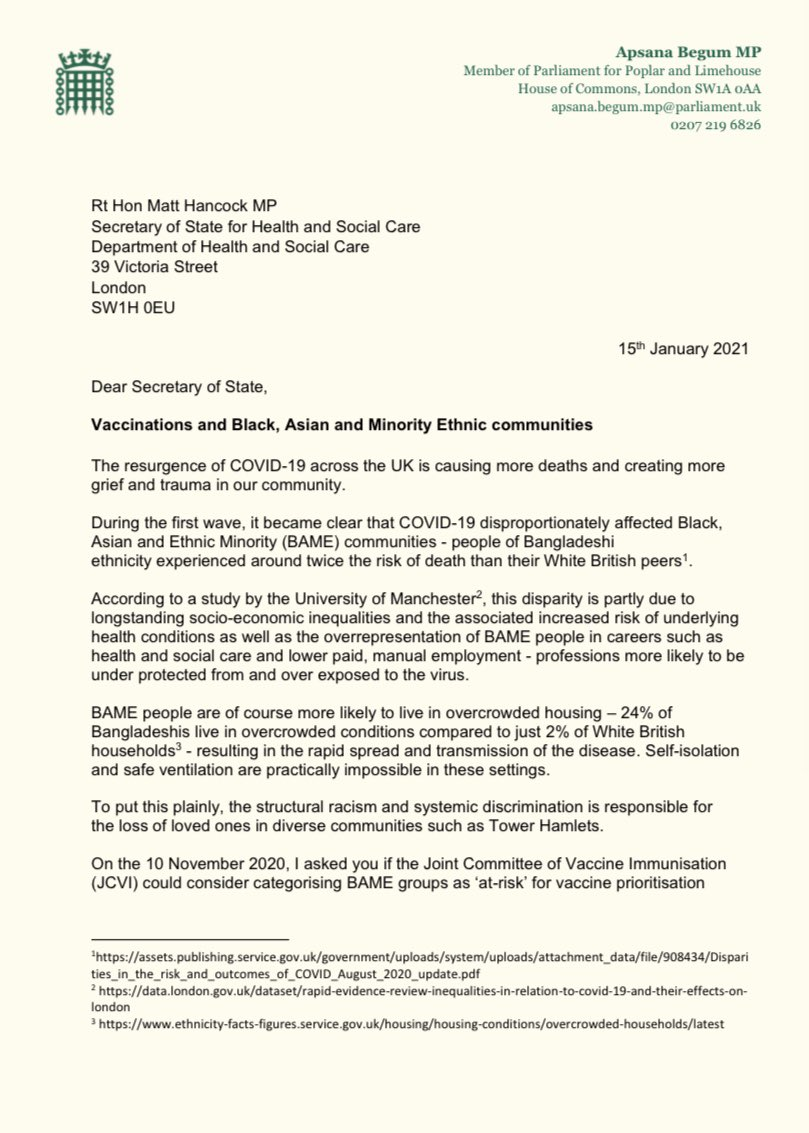 """Along with 29 Parliamentarians, I have written to @MattHancock & @nadhimzahawi to: ➡️Ensure JCVI review & designate BAME communities as """"at-risk"""" prioritising them for vaccines ➡️Publish guidance & plans to protect BAME communities ➡️Capture ethnicity data on a mandatory basis"""