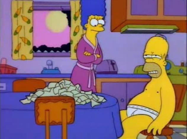Marge: Homero estuviste esperando el estreno de #WandaVision hasta las 2:00 am?  Homero: Quiero ver más capítulos.  #Seriéfilos #MARVEL #Wanda
