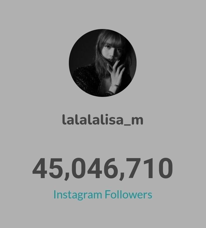 LISA has gained 43,786 followers in past 24 hours 🌟  ▪45,046,710 followers ▪636 posts    #LISA #LALISA   #리사 #블랙핑크 #BLACKPINK  @BLACKPINK @ygofficialblink
