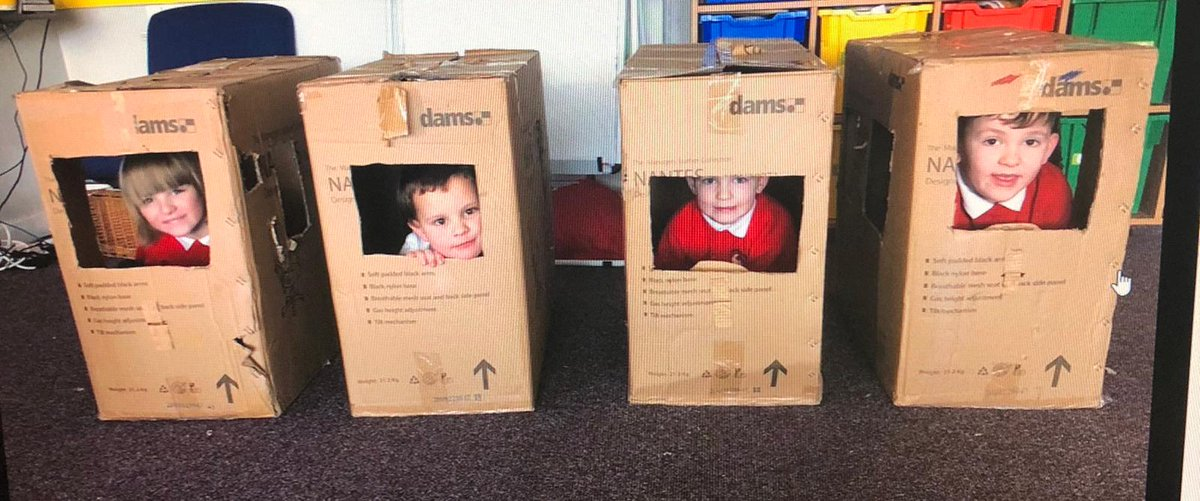 ⚠️Social distancing EYFS style⚠️The fun you can have with a cardboard box 😅 #FridayFeeling 🎉