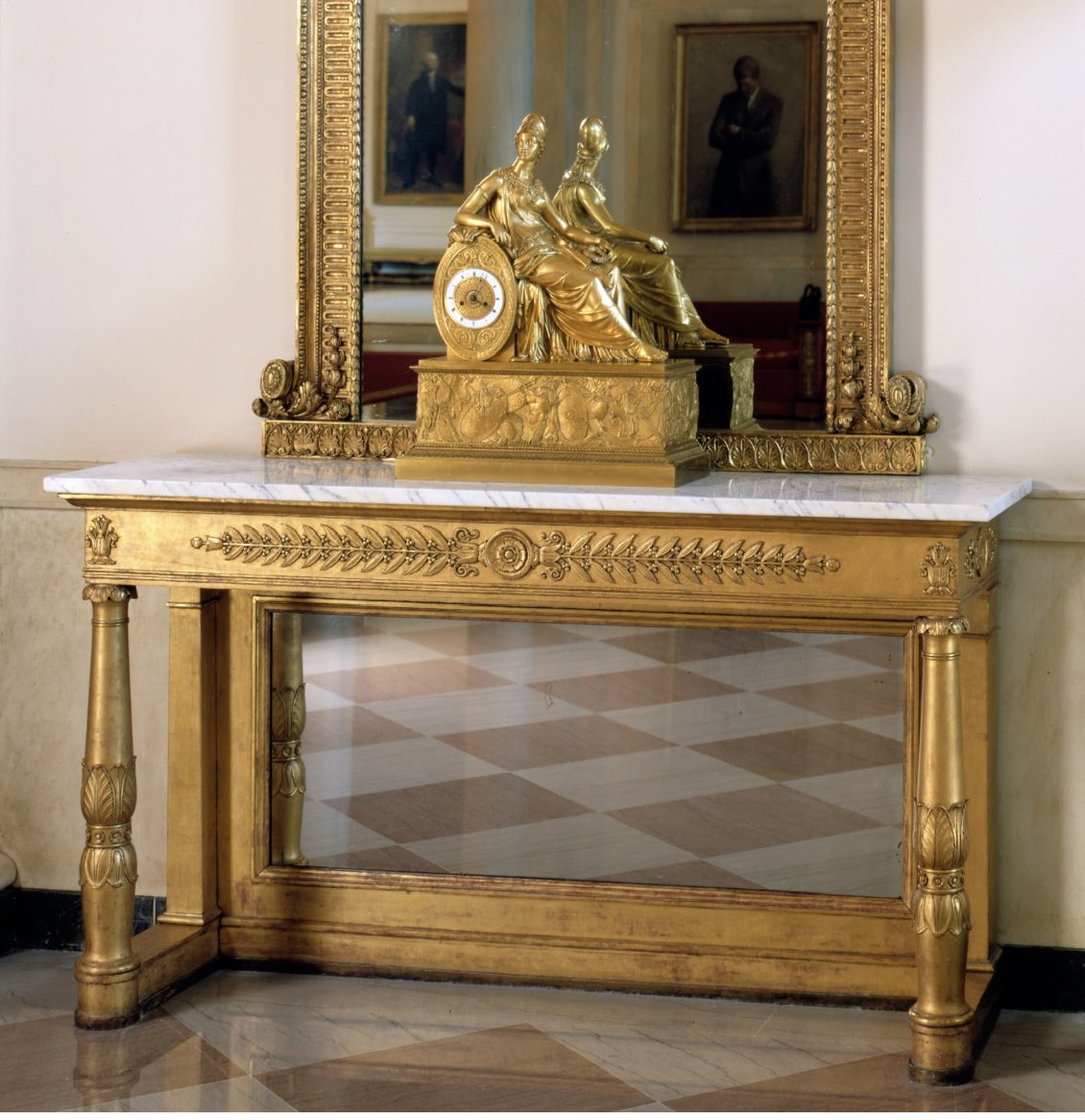 My Friday Favorite from the White House collection is this Bellangé pier table shown here in the Entrance Hall. Acquired by President Monroe, this is the only element of the 53 piece Bellangé suite that has remained in the White House since 1817.