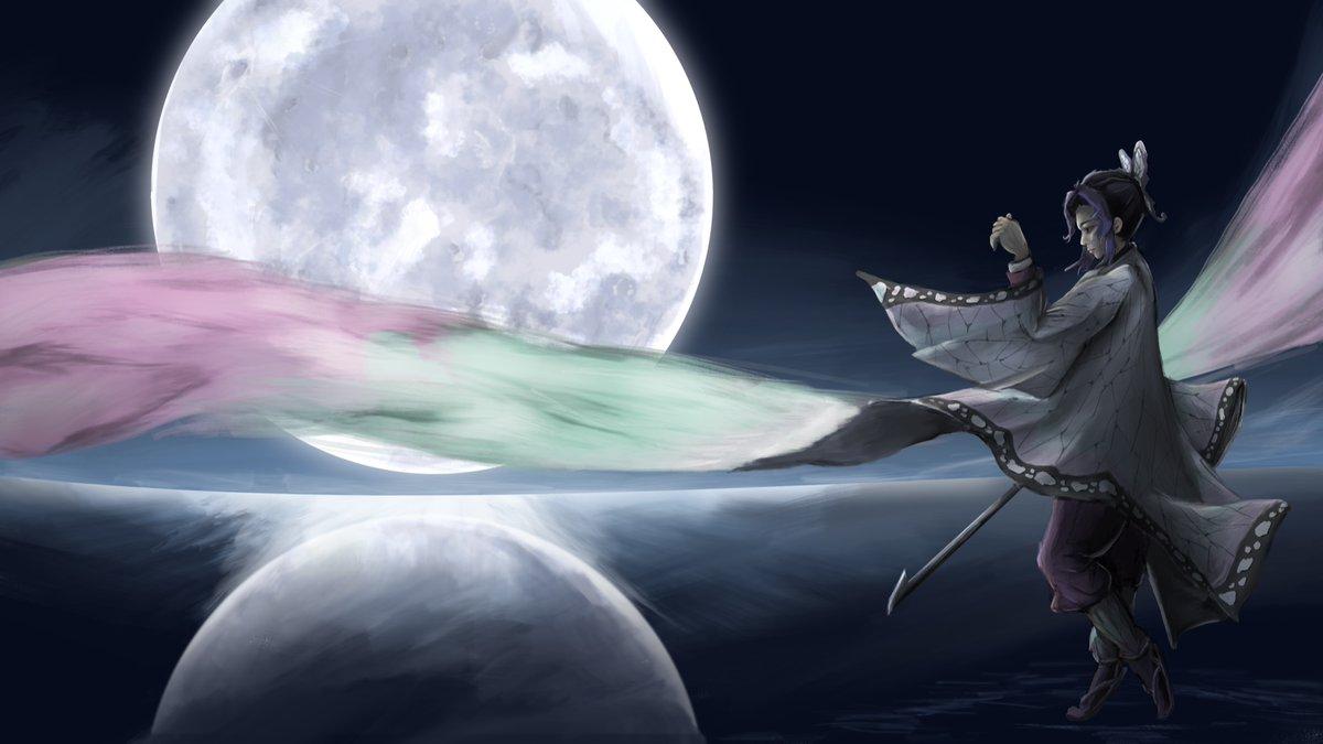 【完成絵】 月夜に羽を拡げる #しのぶさん 描けました!  #イラスト #お絵描き #procreate #胡蝶しのぶ  #illustration #art #FANART #DemonSlayer #digitalart