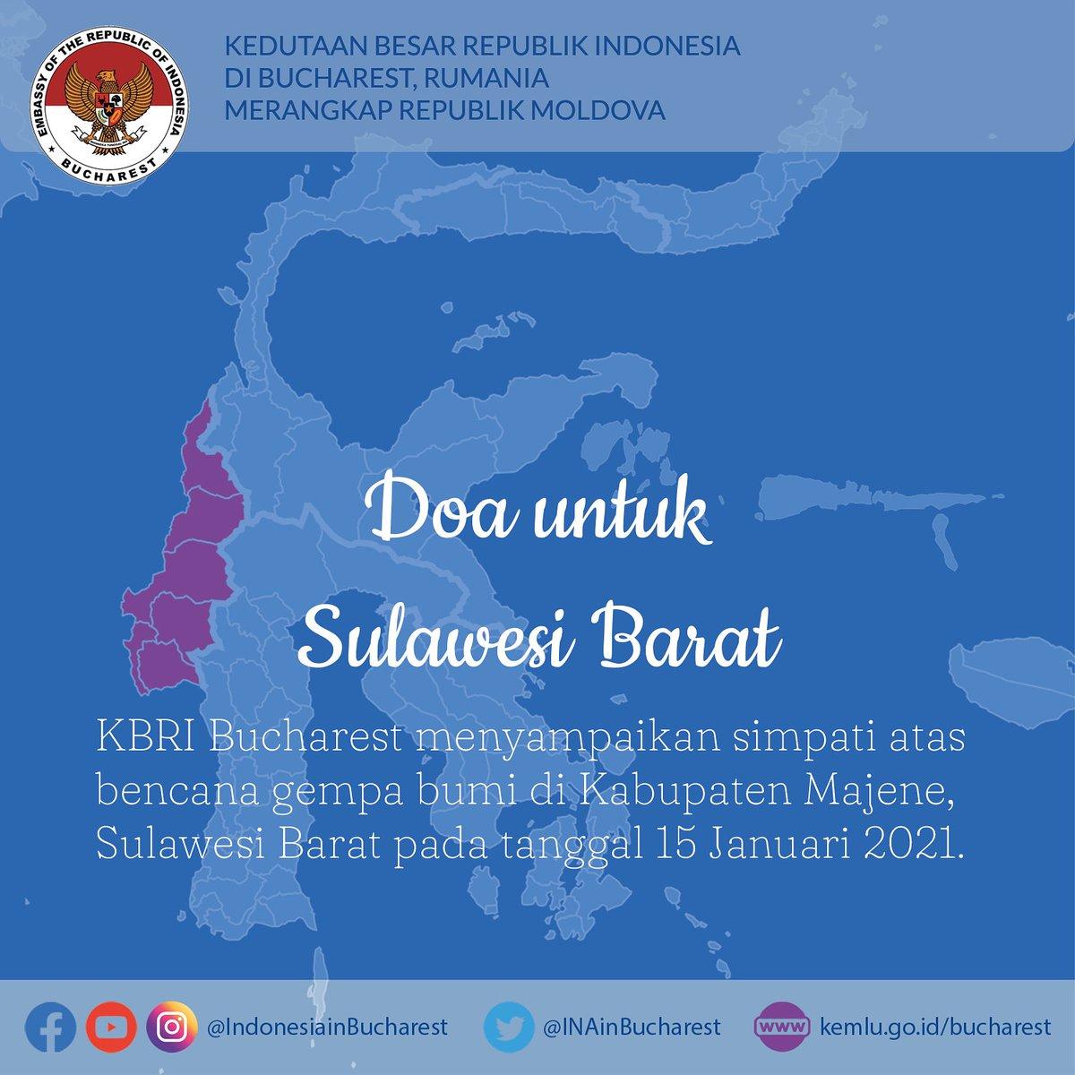 Ambasada Republicii Indonezia transmite un mesaj de compasiune pentru victimele cutremurului produs în Majene, provincia Sulawesi de Vest, în data de 15 ianuarie 2021. #IniDiplomasi #NegaraHadir #negarapeduli https://t.co/9OFpWel3zC