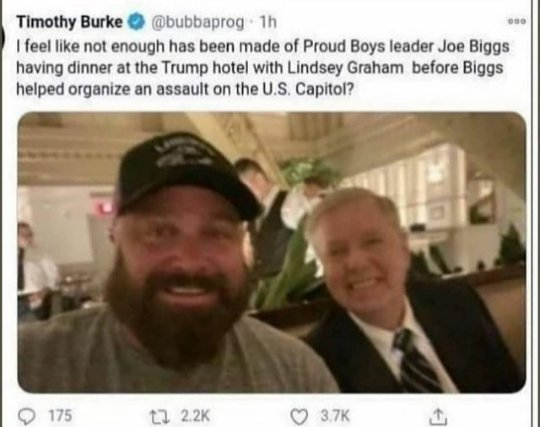 @LindseyGrahamSC are we just going to let this picture of you and the leader of the American terrorists that stormed there Capitol go unnoticed? #GOPComplicitTraitors #ConvictTrump #AmericaOrTrump #DeclassifyEverything #FridayMotivation #ImpeachedTwice #insurrection