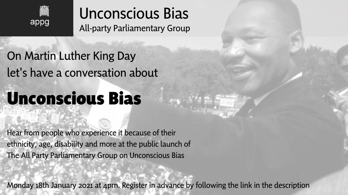 Can't think of a better way to mark #MartinLutherKingDay than to publicly launch this All Party Parliamentary Group. Register here https://t.co/LCtDTnVzkY #unconsciousbias https://t.co/qtaBtWsIX8