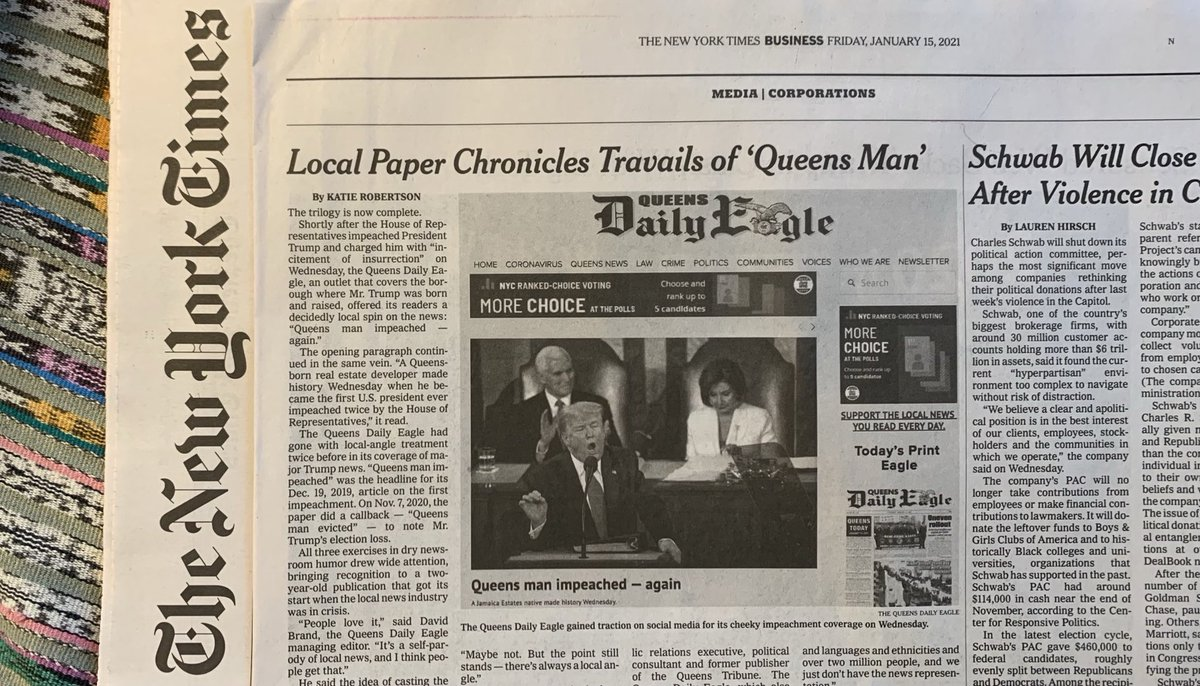 "Gray Lady writes up local paper, the Queens Daily Eagle. 😂 They're putting a local spin on world affairs: ""Queens man impeached —again.""  ⁦@QueensEagle⁩ #journalism"