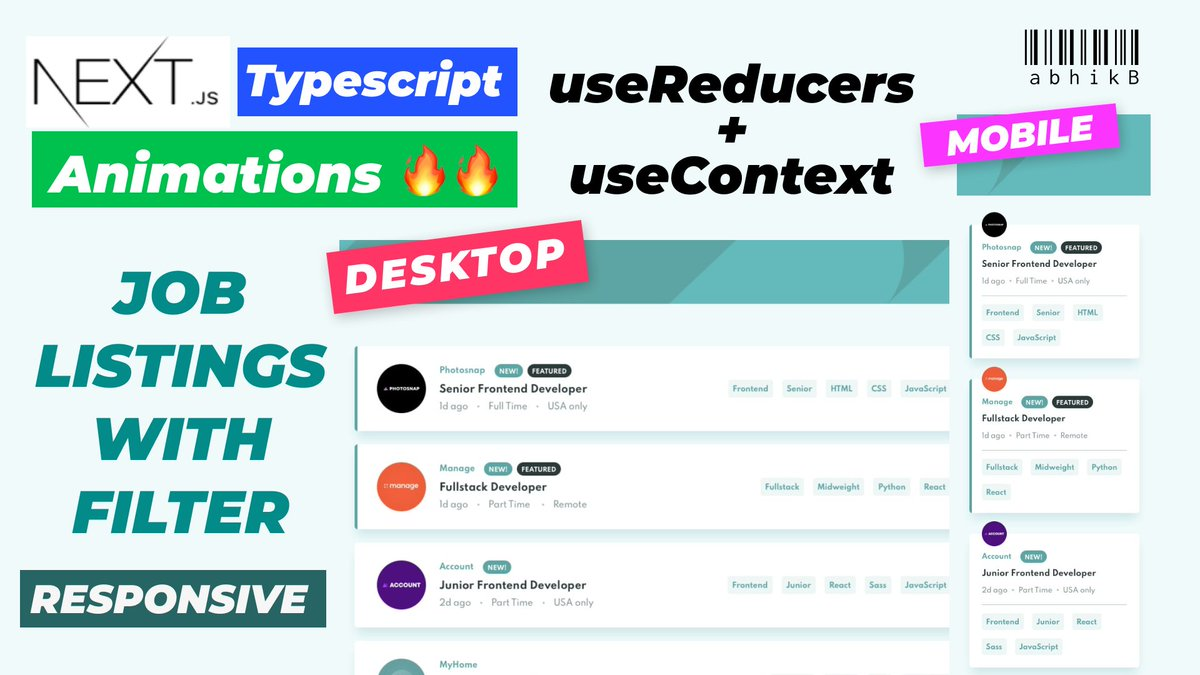 Lets create a #NextJS + typescript project where we create a filterable list from json file & then filter them using useReducers + useContext🚀    #frontend #webdevelopment #WebDeveloper  #programming #Coding #React #reactjs #code #FridayMotivation @YouTube