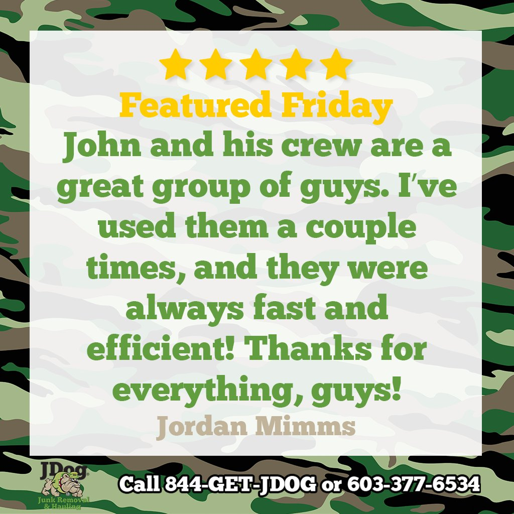 Thanks Jordan!  If you want fast, efficient, ⭐⭐⭐⭐⭐ service, give us a call so we can help with your removal or hauling job!   #JDog #veteranowned #localbusiness #customerservice