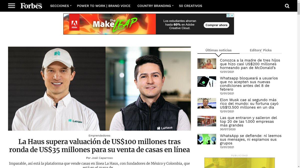 La Haus en portada de @forbescolombia 👊  Gracias @JoseCaparroso y @alegp1 ! ! !  IMPARABLES https://t.co/Iyp43eIrb2