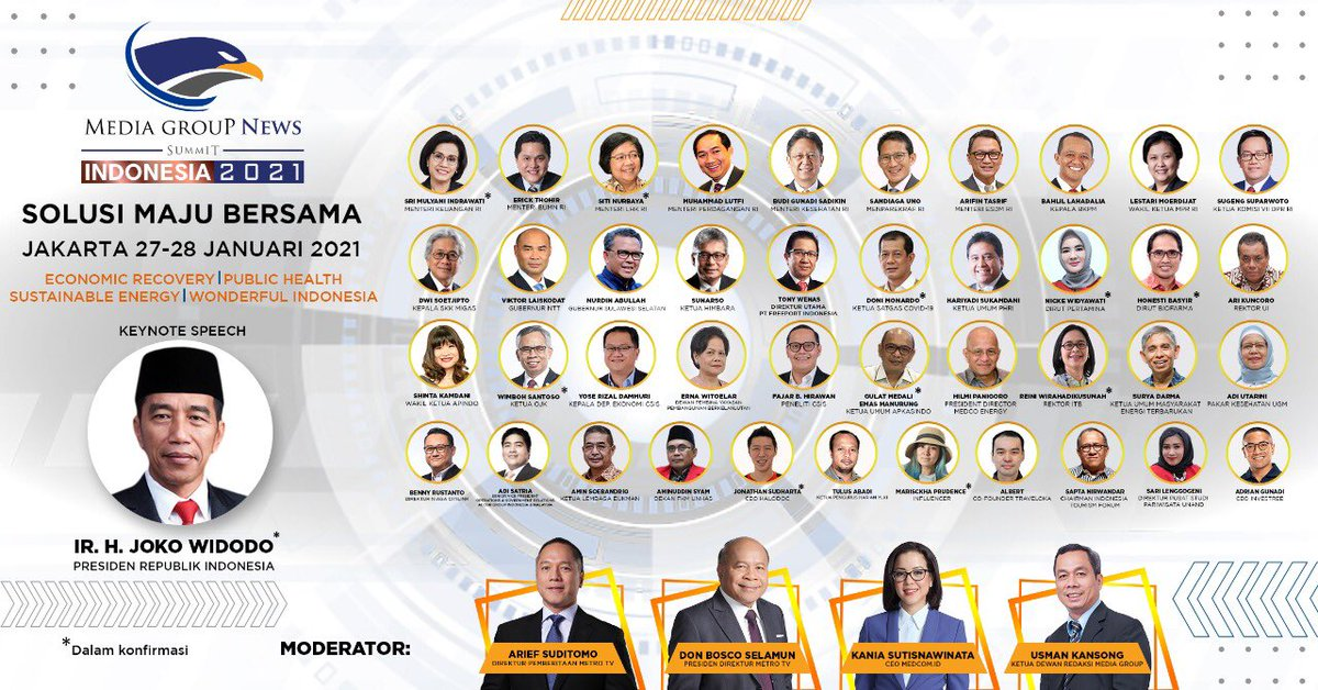 #MediaGroupNewsSummit adalah sebuah diskusi besar di tahun 2021 untuk mencapai solusi terbaik untuk dan ini menunjukkan kepedulian #MediaGroupNews untuk Indonesia. Menghadirkan para pembuat kebijakan, pakar & praktisi. Jangan lewatkan virtual event ini , 27-28 Januari 2021.