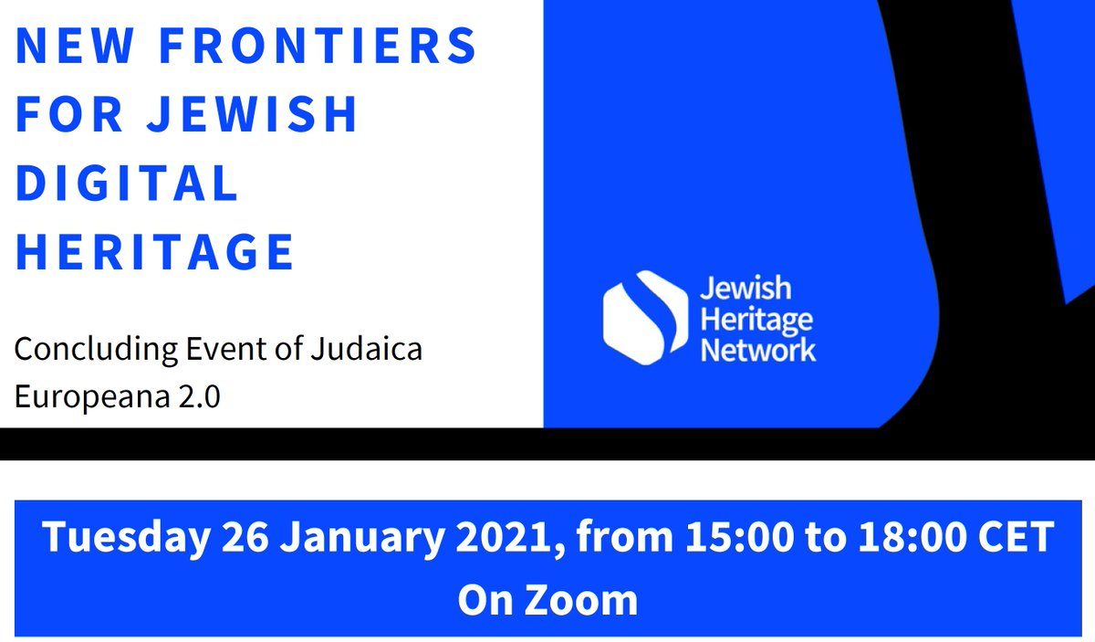The program for New Frontiers for Jewish Digital Heritage (#JudaicaEuropeana20 event) is published https://t.co/oamFscDGVu  Want to know the latest  on Jewish heritage aggregation, curation and project funding?  Join is on Jan 26. https://t.co/tdLnbBtYQ3 https://t.co/u7emNvb33j https://t.co/ls51Rq0mkZ