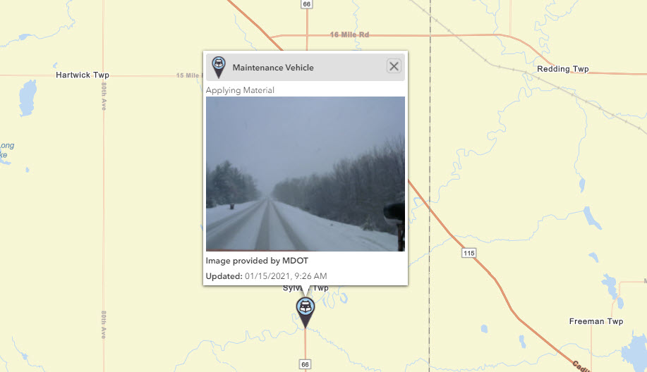 Image posted in Tweet made by Michigan DOT on January 15, 2021, 2:29 pm UTC