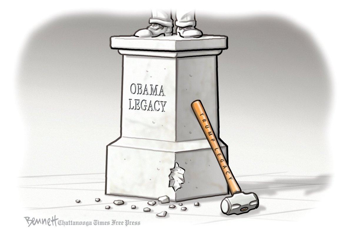 #Election2020 djt ATTEMPTED DESTRUCTION of #Obama LEGACY by @BennettCartoons    trump #trumpInsurrection #maga LOSER, COWARD & MURDERER