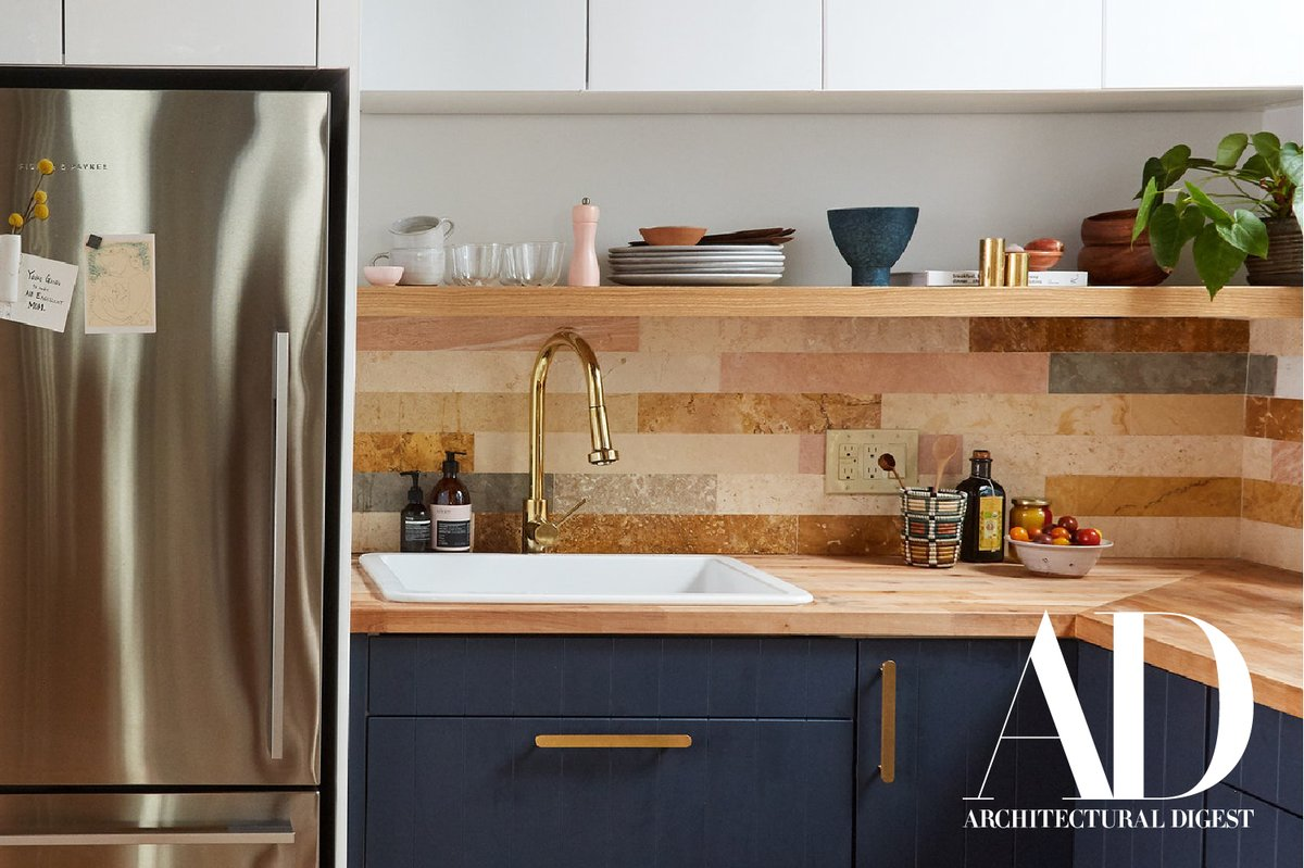 A cramped Manhattan kitchen gets a much-needed remodel with on-trend blue cabinetry, our Royden faucet in polished brass and a drop-in sink. Featured in the Architectural Digest, this modern refresh is an inspiration for many. Shop kitchen essentials here: https://t.co/Us4bIyLw1L https://t.co/CRJ7pbO2gB