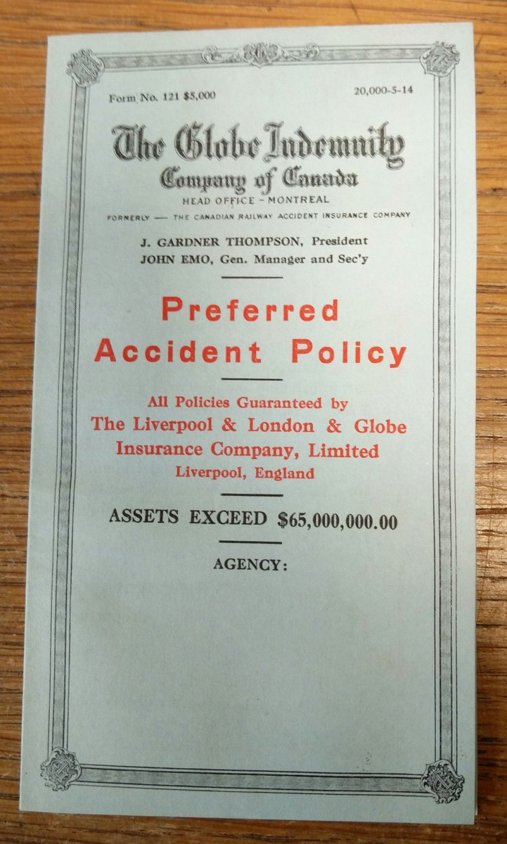 Ca. 1914 #pamphlet for the #GlobeIndemnityCompanyofCanada...#insurance #ephemera #foundinabook