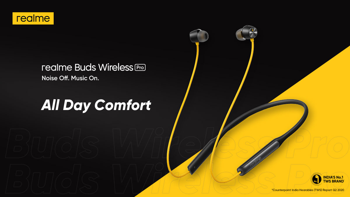 The 33g Lightweight Neckband of #realmeBudsWirelessPro feels comfortable around the neck. So you can keep it on, all day long.   Available on  and @amazonIN. Buy now: