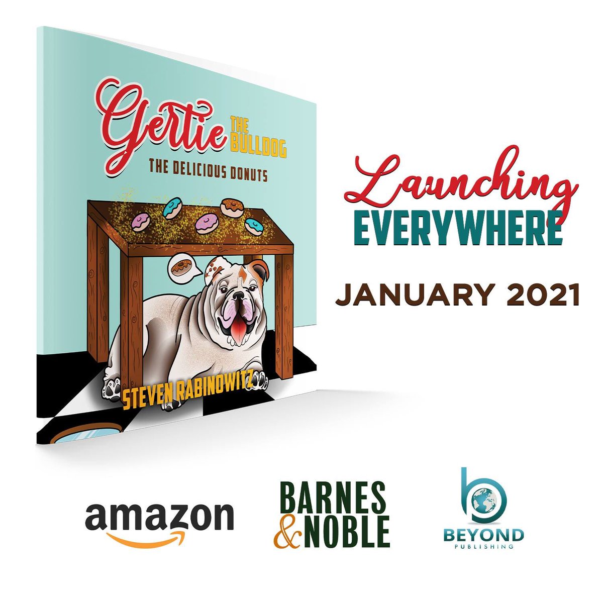 """Only Two more Weeks until the Donut Queens Royal Debut. Her Children's Book """"Gertie the Bulldog, The Delicious Donuts"""" will be available on Amazon and Barnes and Noble soon. Stay tuned... Love, Gertie's Family 🍩🐾🐶🐾 #gertiethebulldog #gertiegotdonuts #queenofallbulldogs"""