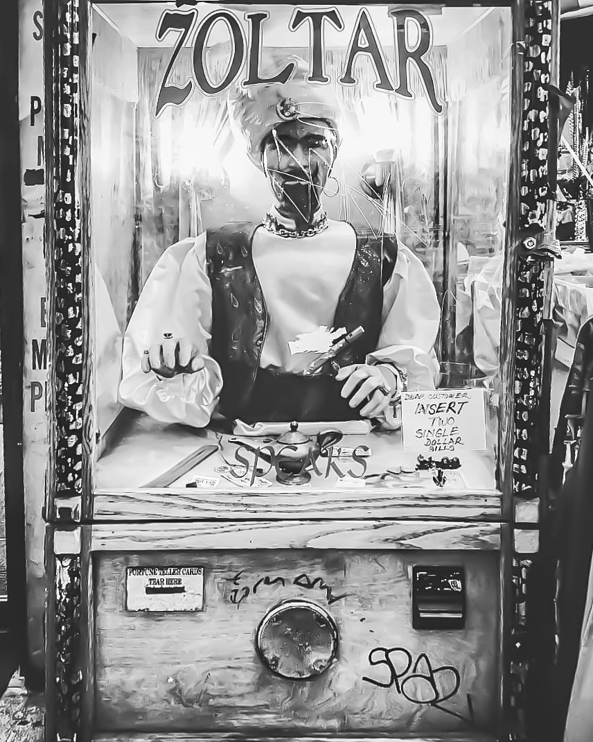 """""""Your Wish is Granted"""" 🎱🔮😌 #Zoltar #Big #FortuneTeller #MovieStuff #MakeAWish #ZoltarSpeaks #SaintMarks #EastVillage #Manhattan #NYNY #BlackAndWhite #Photofervor #OnTheStreet #NYCViews #NYCStreets #CityGrit #OldStuff #TheViewFromHere #ZMoney #YourWishIsGranted #NYC"""