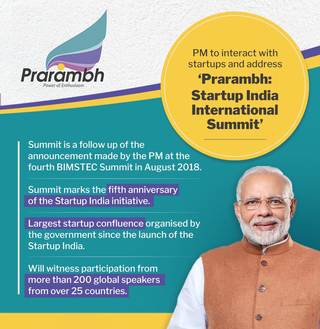 At 5 PM tomorrow, I would take part in an interaction with those associated with the world of start-ups and address 'Prarambh: #StartUpIndia International Summit.'