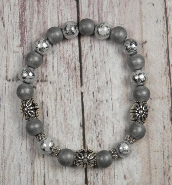 "Foil Glass Matte Hematite Silver Metal Spacer Stretch Bracelet Handmade 7.5""  @eBay #gifts #shopsmall #buyhandmade"