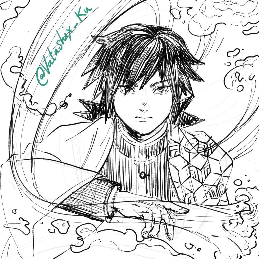 Sketching Tomioka Giyu from #kimetsunoyaiba :3