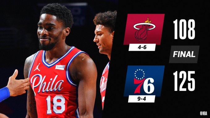 --HILO DE PARTIDOS DEL 12 DE ENERO--  PHILADELPHIA 76ERS (9-4) 125 vs 108 Miami Heat (4-6)  - Shake Milton (PHI) - 31 PTS / 2 REB / 7 ASI - Gabe Vincent (MIA) - 21 PTS / 2 REB / 8 ASI - Ben Simmons (PHI) - 10 PTS / 10 REB / 12 ASI  #NBA #NBATwitter https://t.co/NaMEgaL1PB